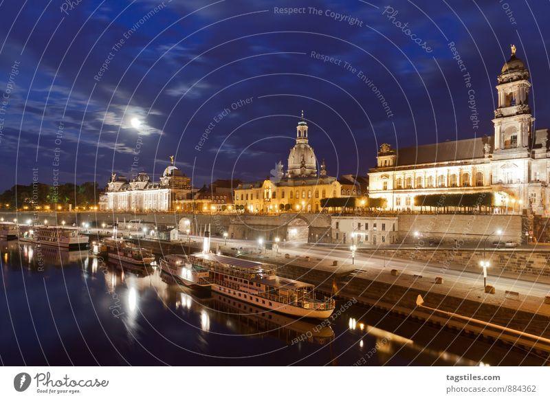 DRESDEN Ferien & Urlaub & Reisen Erholung dunkel Reisefotografie Architektur Wasserfahrzeug Deutschland Idylle Tourismus Postkarte Dresden Mond Sachsen Elbe