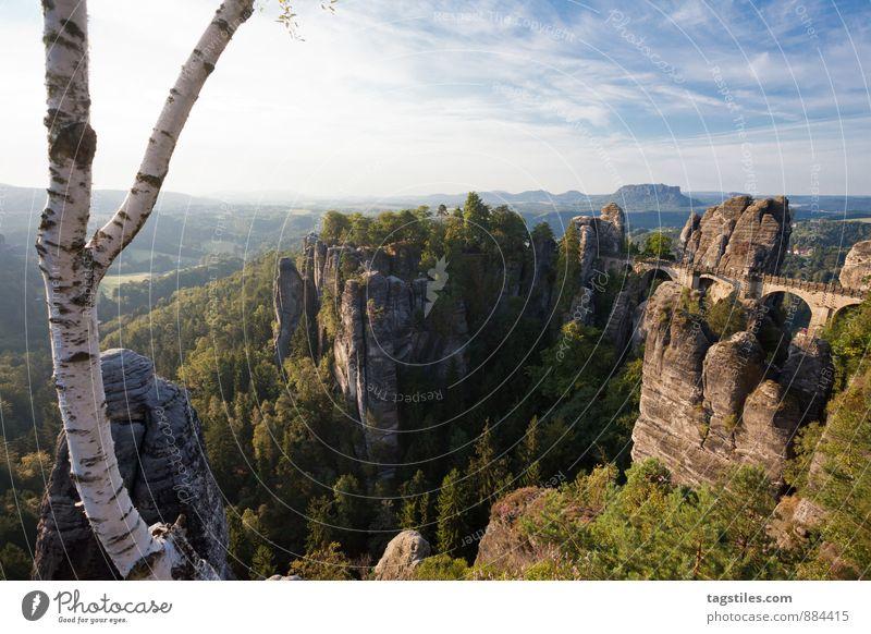 Y Natur Ferien & Urlaub & Reisen Baum Erholung Wald Berge u. Gebirge Reisefotografie Architektur Felsen Deutschland Idylle Tourismus Aussicht Brücke Postkarte Sehenswürdigkeit