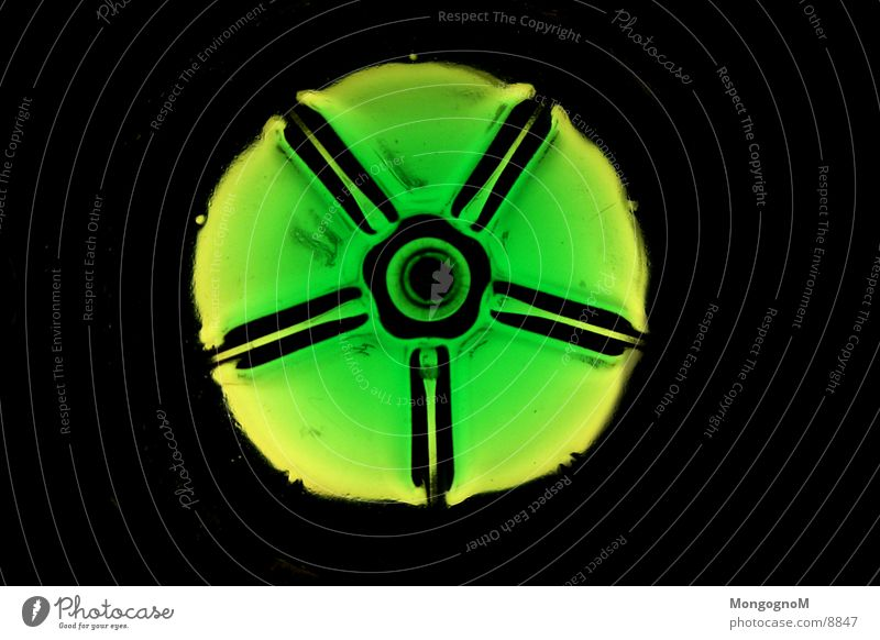 Flaschenboden Lampe Licht grün Fototechnik