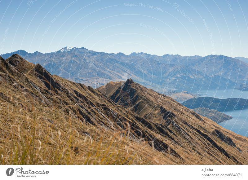 on top of the world Himmel Natur Ferien & Urlaub & Reisen Pflanze Wasser Sommer Landschaft Ferne Umwelt Berge u. Gebirge Wärme Küste Gras See Horizont Felsen