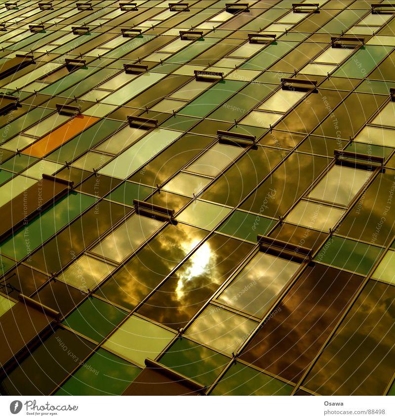 Schöner Wohnen 19 Gebäude Fassade Bürogebäude Fenster Hochhaus Raster Neubau Reflexion & Spiegelung Wolken grün braun modern Sonne Wetterschutz Architektur