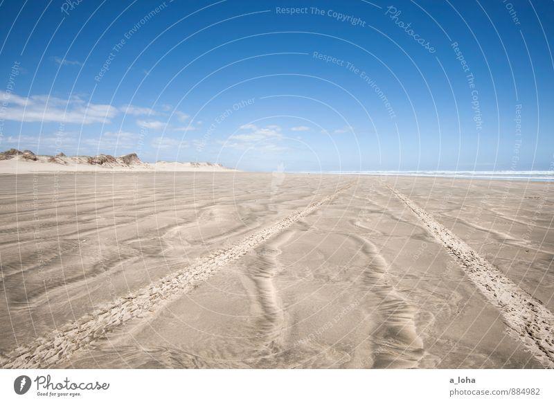 roadtrip Himmel Natur Ferien & Urlaub & Reisen Wasser Sommer Meer Einsamkeit Landschaft Wolken Strand Ferne Wärme Straße Küste Wege & Pfade Sand