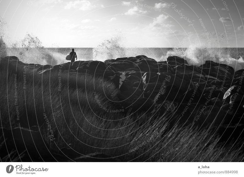 ocean. love. Lifestyle Wassersport Sportler Mensch maskulin 1 Umwelt Natur Landschaft Urelemente Himmel Wolken Horizont Sommer Schönes Wetter Gras Felsen Wellen