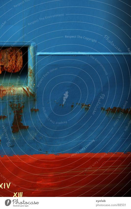 Meerblick versperrt ! Wasser alt blau rot Lampe Wasserfahrzeug Wetter Industrie Ziffern & Zahlen Hafen Stahl trashig Rost Schifffahrt Schönes Wetter
