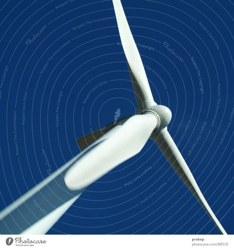 Don Q. - III Himmel blau weiß Wolken ruhig Wind fliegen Energiewirtschaft groß Elektrizität Macht Industrie Schönes Wetter Sturm Windkraftanlage drehen