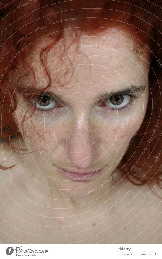 u gonna look @ me Stil Vertrauen woman red redhead eyes brown fair skin challenging light skin caucasion dye focus intense