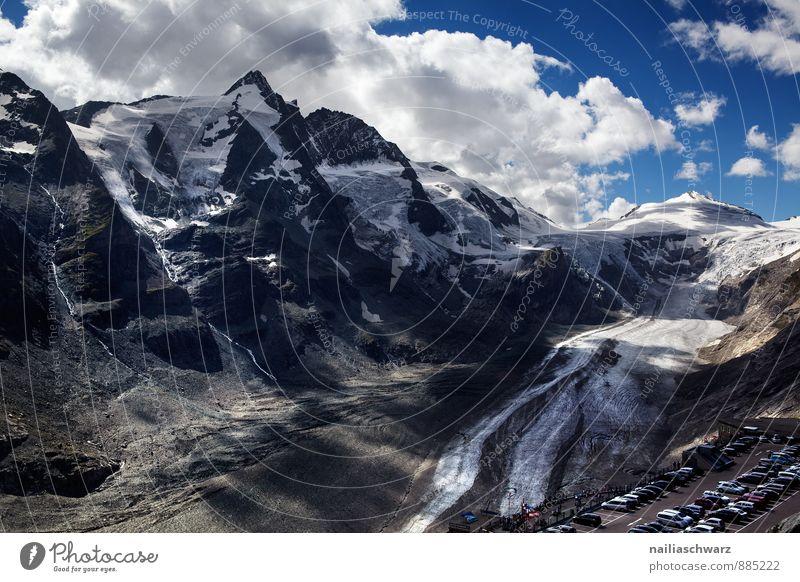 Großglockner Sommer Umwelt Natur Landschaft Klimawandel Schnee Alpen Berge u. Gebirge Gipfel Schneebedeckte Gipfel Gletscher Schlucht gigantisch Unendlichkeit