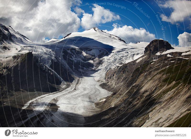 Pasterze Glacier Sommer Umwelt Natur Landschaft Klima Klimawandel Alpen Berge u. Gebirge Gipfel Schneebedeckte Gipfel Gletscher Bekanntheit gigantisch