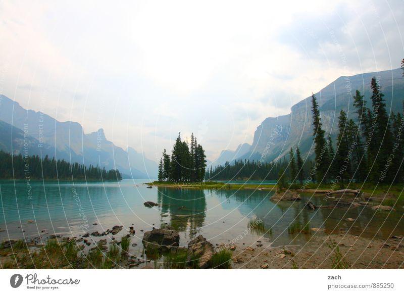 15 Minuten bei Spirit Island Himmel Natur Ferien & Urlaub & Reisen blau Pflanze grün Wasser Sommer Baum Landschaft Wolken Berge u. Gebirge Herbst See Idylle