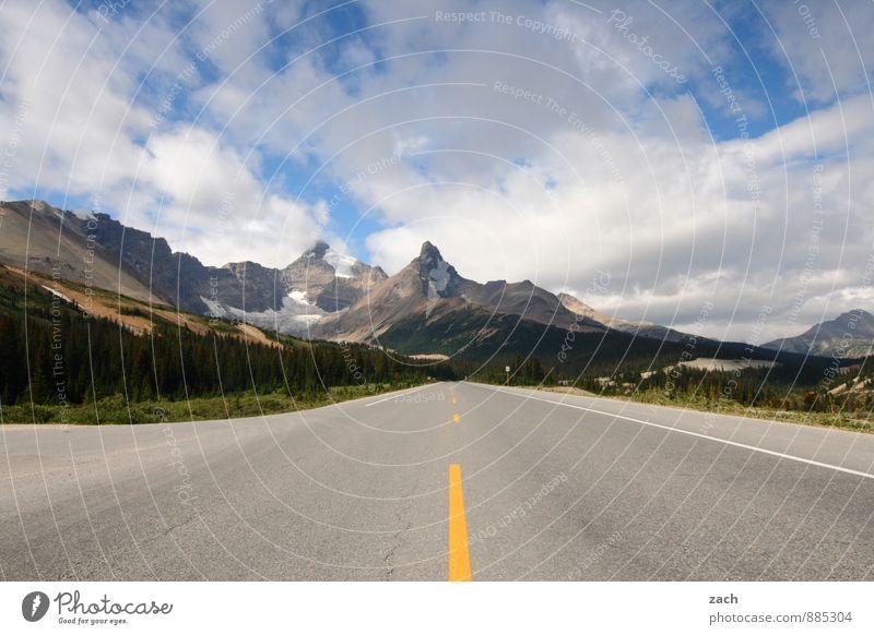 nächste links Ferien & Urlaub & Reisen Tourismus Ferne Sommer Landschaft Himmel Wolken Schönes Wetter Baum Felsen Berge u. Gebirge Rocky Mountains Gipfel