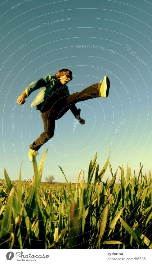 Spring ins Feld! III hüpfen Frühling Wiese Gras grün Stil Sonnenuntergang Körperhaltung Halm Froschperspektive Sonnenstrahlen Kick Kampfsport Mann Kerl