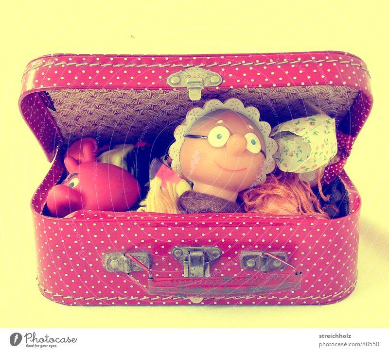Aber Großmutter ... Spielzeug Kiste Koffer Kinderzimmer Spielen Puppentheater gepunktet rot Freude Theater Puppenkiste Handpuppen Spielekiste Kasten