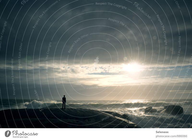Bis Morgen Mensch Ferien & Urlaub & Reisen Erholung Meer Einsamkeit Wolken Strand Ferne Küste Freiheit Wellen Tourismus frei Ausflug Abenteuer Sehnsucht