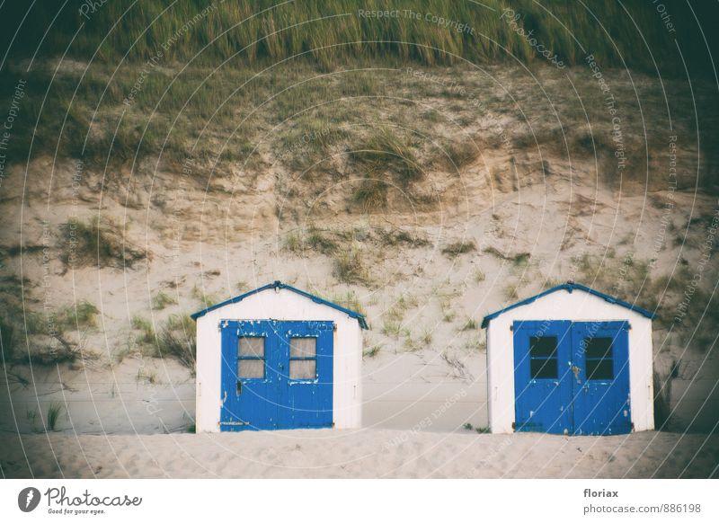 stranderinnerungen Natur Ferien & Urlaub & Reisen alt blau schön Erholung Meer dunkel Gras klein Sand Zusammensein Tür hoch Insel bedrohlich