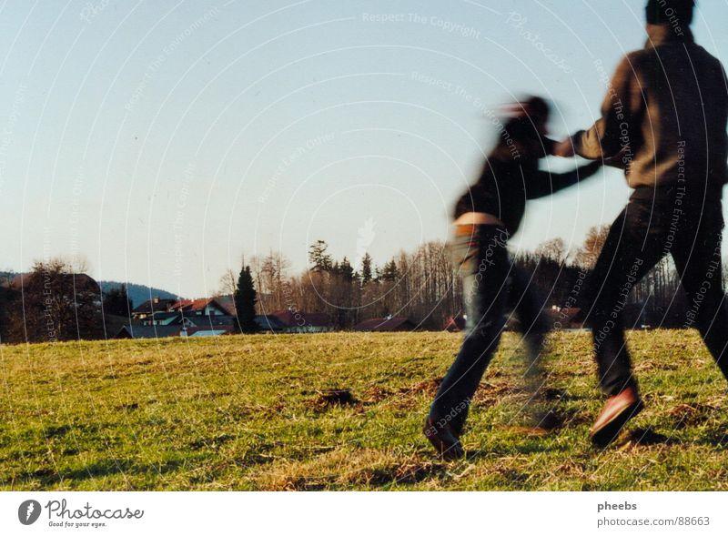 komm mit... Mensch Himmel Jugendliche Baum Liebe Landschaft Wiese Herbst Spielen Bewegung Gras Frühling springen 2 Tanzen Verbindung