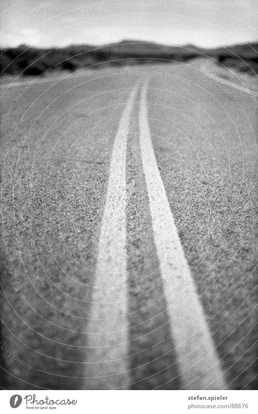 on the road trocken Nevada Asphalt Teer Sicherheitslinie Mittellinie Unschärfe Ferne heiß Physik Einsamkeit Lastwagen Hauptstraße Verkehr Horizont USA Wüste