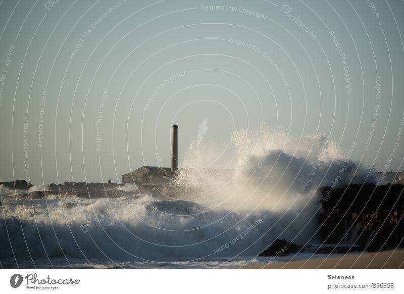 Sturmflut Ferien & Urlaub & Reisen Ausflug Abenteuer Ferne Strand Meer Wellen Umwelt Natur Wasser Wolkenloser Himmel Klima Klimawandel Wind Küste Südafrika Dorf