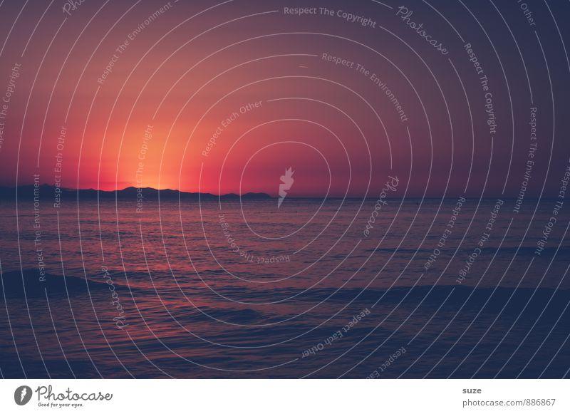 Abendlicht Ferien & Urlaub & Reisen Insel Umwelt Natur Himmel Felsen Wellen Küste Meer fantastisch Gefühle Stimmung Warmherzigkeit Romantik schön Hoffnung Tod