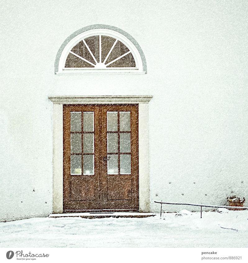 tomorrow is another day Urelemente Winter Sturm Schnee Schneefall Burg oder Schloss Fassade Tür Zeichen elegant kalt reich Einsamkeit Kultur Reichtum