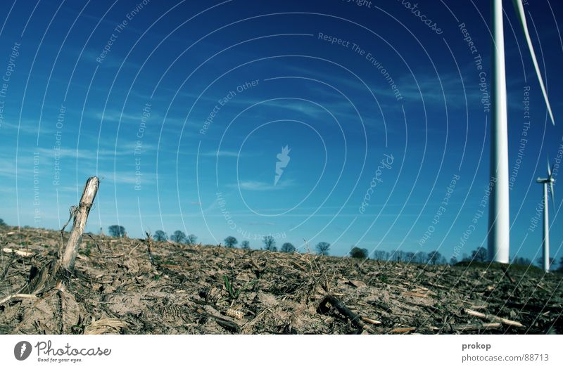 Don Q. - IV Himmel blau weiß Wolken ruhig Sand Erde Wind Feld fliegen Energiewirtschaft groß Elektrizität trist Macht rund