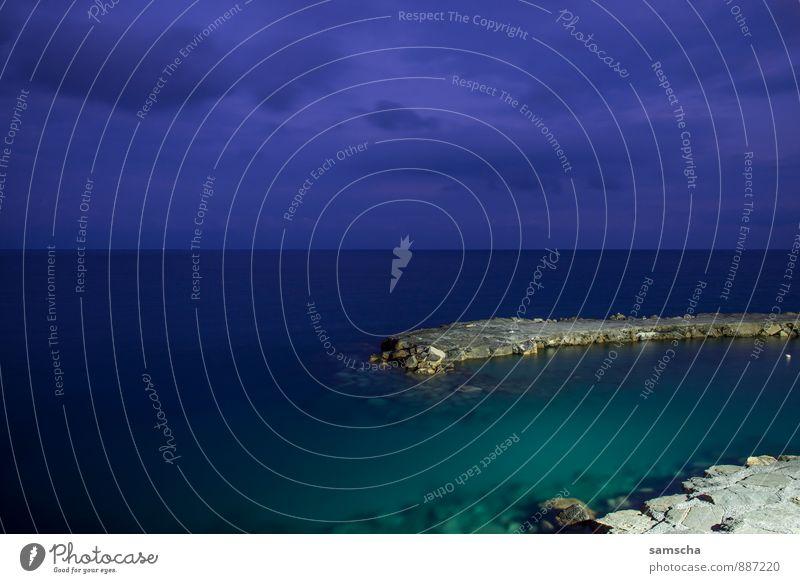 am Meer III Ferien & Urlaub & Reisen Tourismus Ausflug Abenteuer Ferne Freiheit Sommer Umwelt Natur Landschaft Wasser Himmel Wolken Nachthimmel Horizont Küste