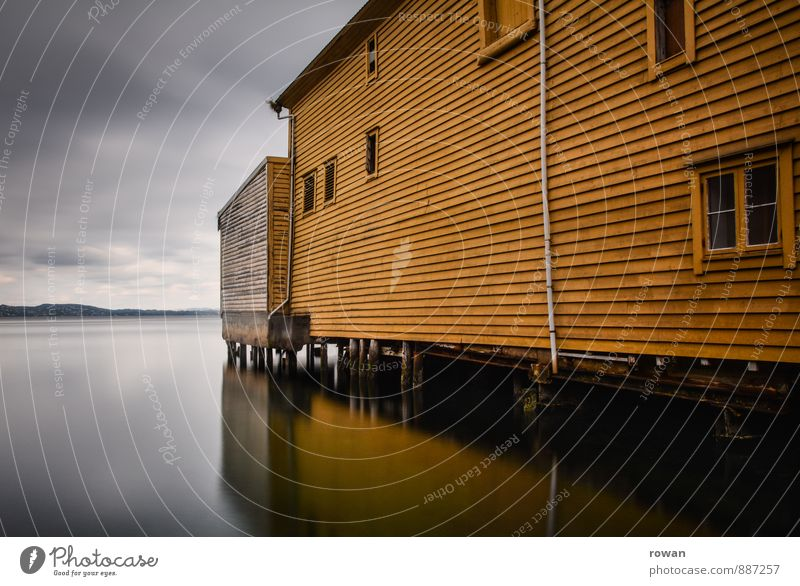 gelb Meer See Haus Bauwerk Gebäude Architektur Fassade Fenster ruhig Holzhaus Norwegen Reflexion & Spiegelung Bootshaus Hafen Pfosten Wasser Wasseroberfläche