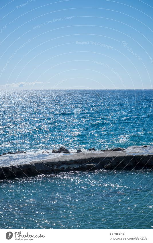 am Meer Himmel Natur Ferien & Urlaub & Reisen schön Wasser Sommer Sonne Erholung Landschaft Ferne Umwelt Küste Schwimmen & Baden Freiheit träumen