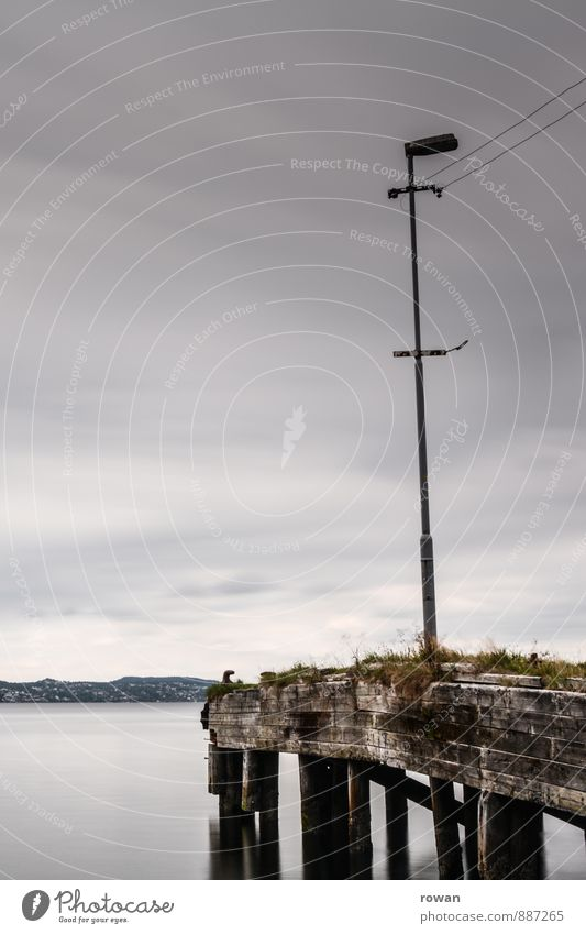 steg Wasser Küste Meer See dunkel Steg Anlegestelle ruhig Einsamkeit Straßenbeleuchtung grau Wolken Farbfoto Außenaufnahme Textfreiraum links Textfreiraum oben