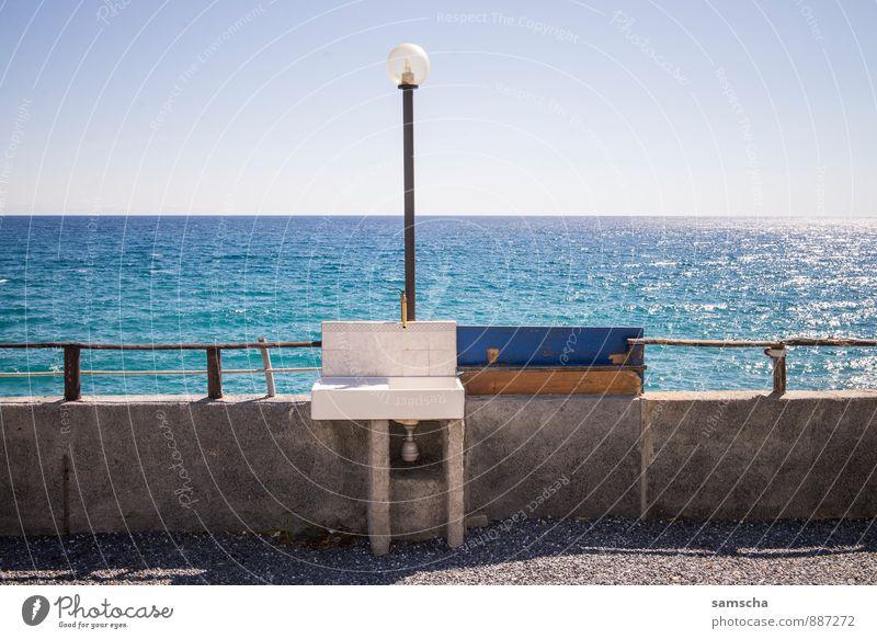 Abwasch am Meer Himmel Natur Ferien & Urlaub & Reisen Wasser Sommer Erholung Landschaft Ferne Umwelt Küste Schwimmen & Baden Freiheit Lampe Horizont Wetter