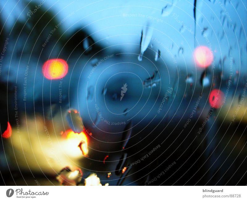 Rush Hour Licht nass unterwegs fahren Ampel gelb Verkehrsstau KFZ Feierabend PKW Rücklicht Unschärfe rot Frankfurt am Main Regen Fensterscheibe topfen