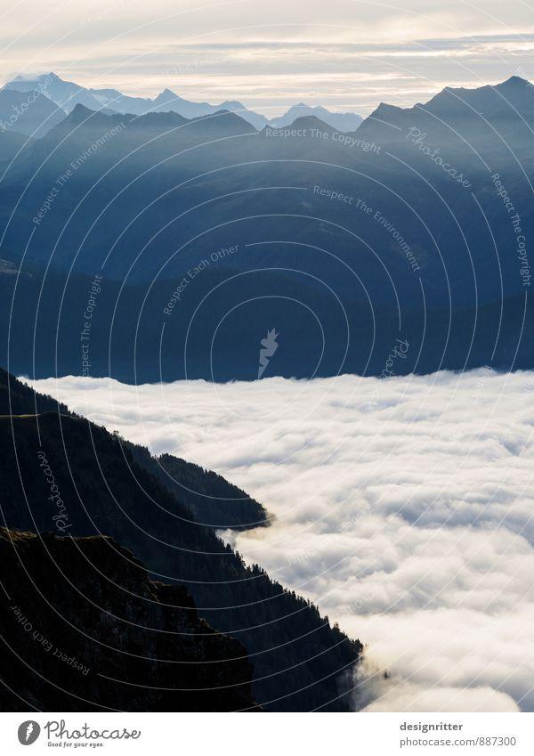 Milchreis zum Frühstück Berge u. Gebirge wandern Umwelt Luft Wolken Klima Schönes Wetter Nebel Wald Alpen Tal Gipfel Österreich atmen ästhetisch hoch schön