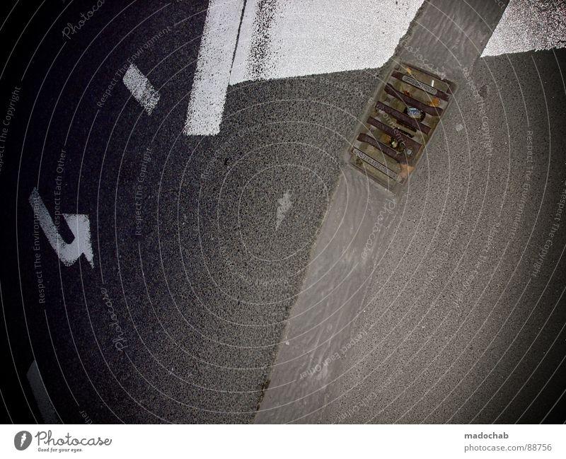 KEEP ON FLYING weiß Stadt Straße Stil grau Linie Hintergrundbild Schilder & Markierungen Verkehr trist Bodenbelag Asphalt Spuren Pfeil Autobahn Quadrat