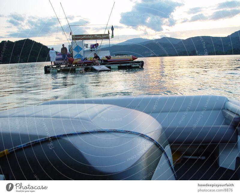 Wakeboard to the sunset Wasserfahrzeug Sonnenuntergang Dämmerung Motorboot Abend Seil Insel Wakesurfing