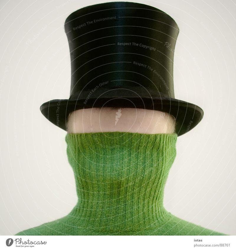 charaktereigenschaft Porträt Rollkragenpullover Pullover Stirn geheimnisvoll Mann Angst Panik Kommunizieren Schwäche Zylinder verstecken introspektion