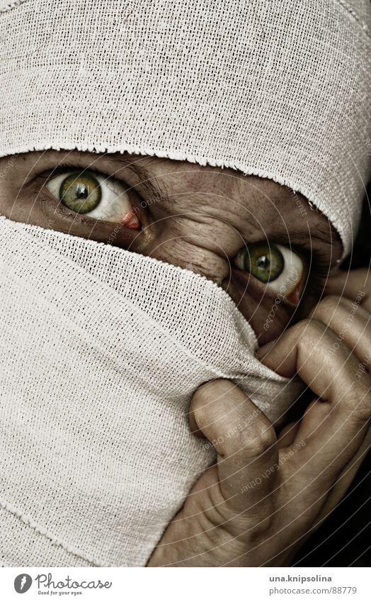 possédé weiß grün Angst verrückt Stoff Krankheit Wut Schmerz böse bizarr Seele Ärger Irritation Verband Qual bandagieren