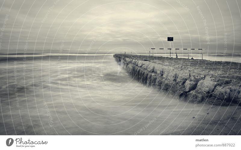 graues Meer Natur Landschaft Urelemente Sand Wasser Himmel Wolken Gewitterwolken Horizont Sommer Wetter schlechtes Wetter Wellen Küste Strand Ostsee maritim