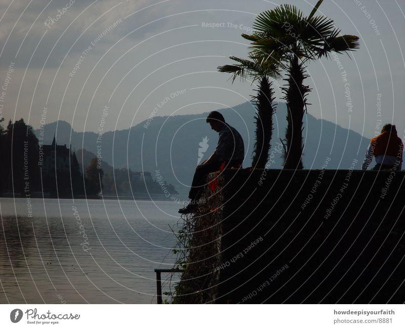 Misty Lake See Palme Mann Denken Gedanke Berge u. Gebirge sitzen Abend Freiheit Nachdenken