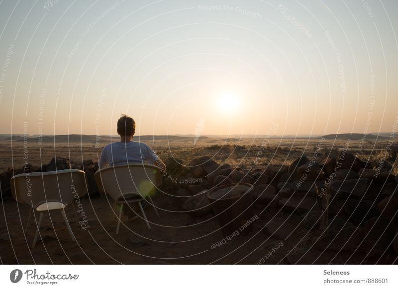 Urlaub! Mensch Himmel Natur Ferien & Urlaub & Reisen Mann Sommer Sonne Landschaft Ferne Umwelt Erwachsene Freiheit Horizont maskulin Tourismus Ausflug