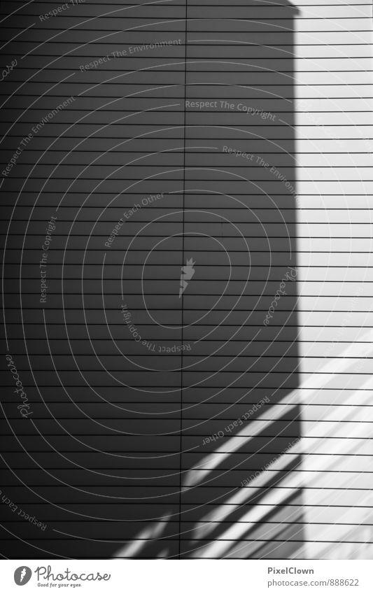Schatten Lifestyle Stadtzentrum Industrieanlage Fabrik Mauer Wand Fassade Holz bauen außergewöhnlich Coolness schwarz weiß ästhetisch skurril Schwarzweißfoto