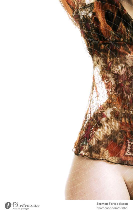 D. van der Nies 7200 Frau nackt weiß Hemd rot Top Herbst Hüfte Silhouette Hälfte Erotik Akt schön Haut hell Auge Unterhose Farbe schreiten Scham Profil Seite