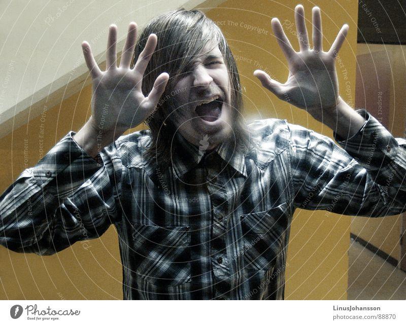 Panic gelb Angst T-Shirt Wut Panik Ärger Stuck