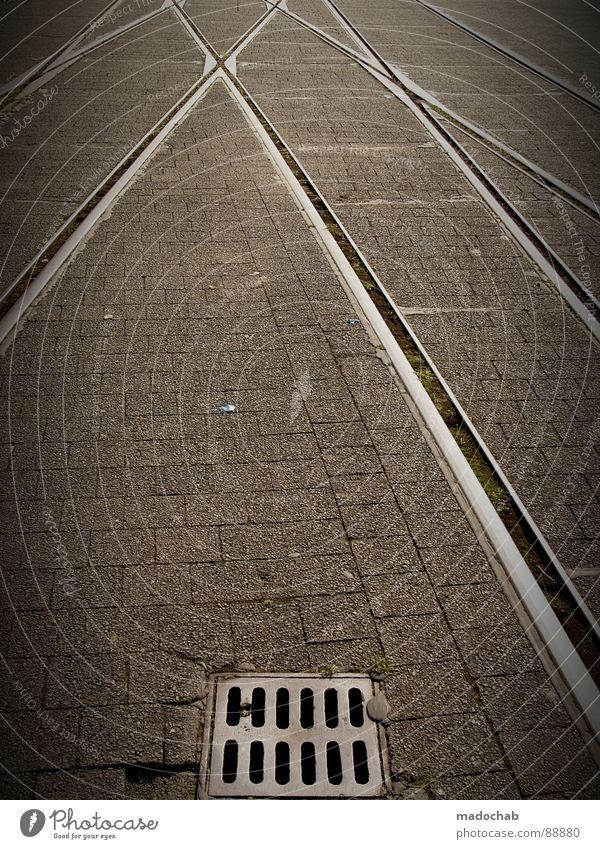 7SEVENHUNDRED5FIFTY0 weiß Stadt Straße Stil grau Stein Linie Hintergrundbild Schilder & Markierungen Verkehr Eisenbahn trist Güterverkehr & Logistik Kommunizieren Bodenbelag Asphalt