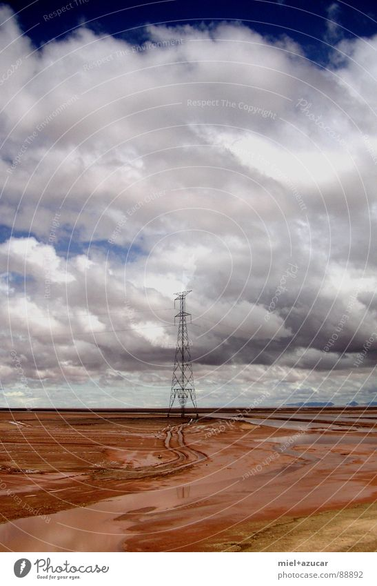 turm Himmel Sommer Wolken Einsamkeit Farbe Erde Zukunft Teile u. Stücke Strommast Südamerika
