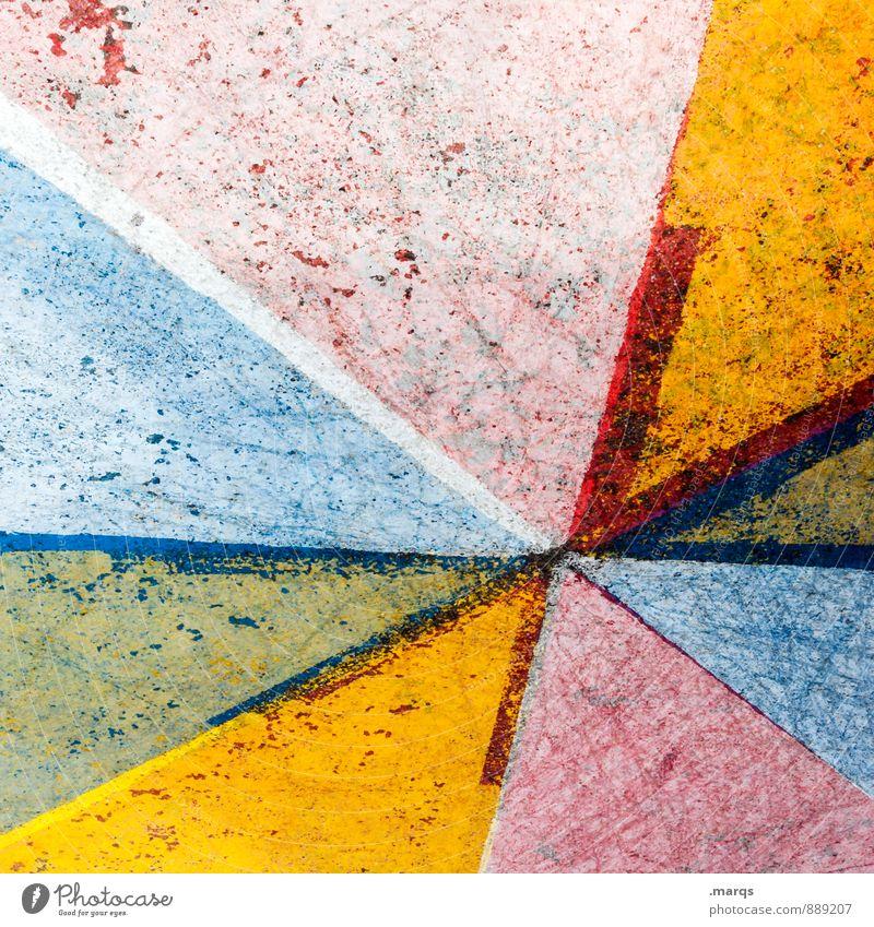 Verwaschen Stil Beton Linie alt dreckig trashig blau mehrfarbig gelb grün rot Farbe Verfall Hintergrundbild Farbfoto Außenaufnahme Nahaufnahme abstrakt Muster