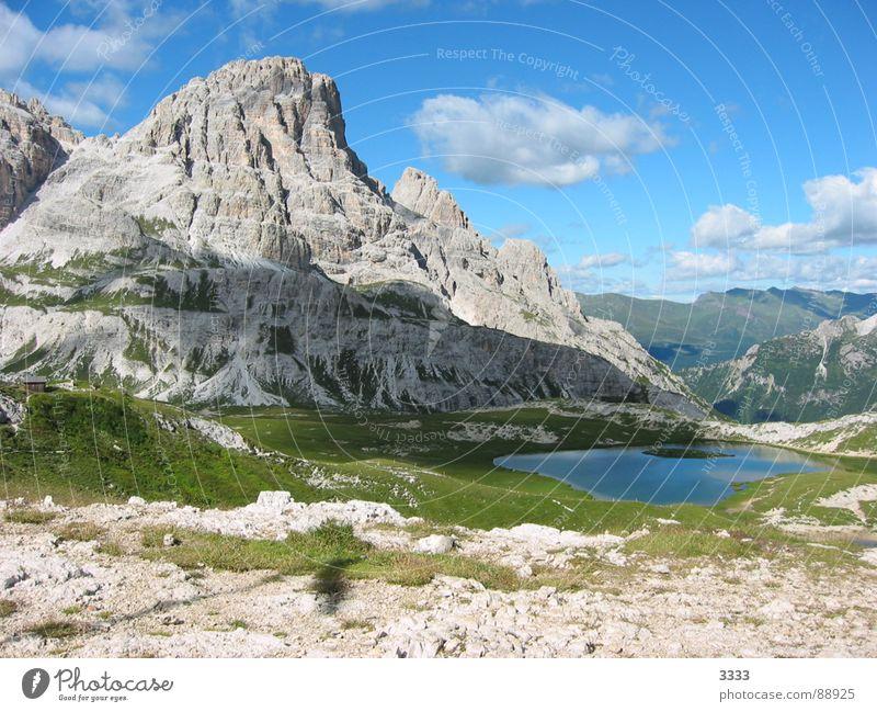 Berg mit See Südtirol Gebirgssee Wolken Panorama (Aussicht) Berge u. Gebirge Natur groß
