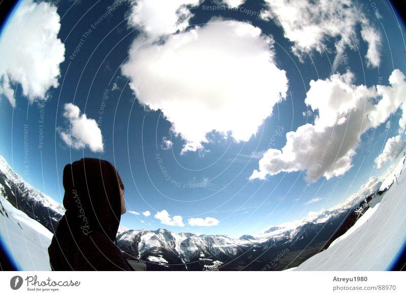 King of the Hill Himmel Ferien & Urlaub & Reisen Wolken Schnee Berge u. Gebirge Alpen Aussicht Schweiz Tal Skipiste ruhen