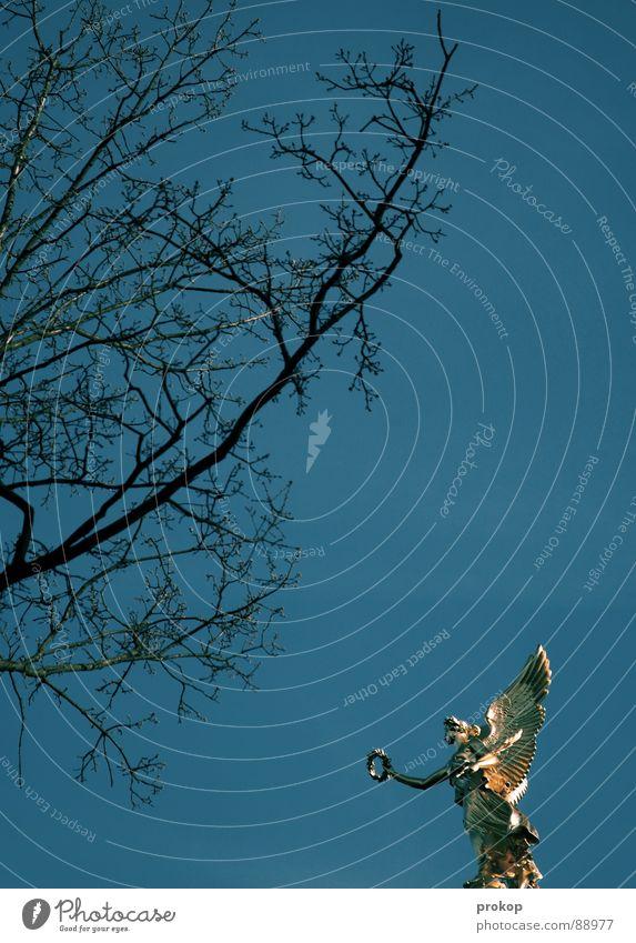 Proportionen Himmel alt blau Baum oben Arme gold glänzend fliegen Erfolg Engel Flügel Ast Vertrauen Reichtum historisch