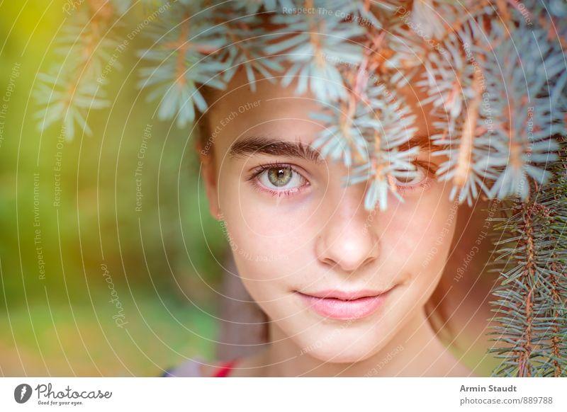 Porträt - Versteckt - Tannennadeln Mensch Frau Kind Natur Jugendliche schön Sommer Wald Erwachsene Auge Leben feminin Frühling natürlich Glück Gesundheit