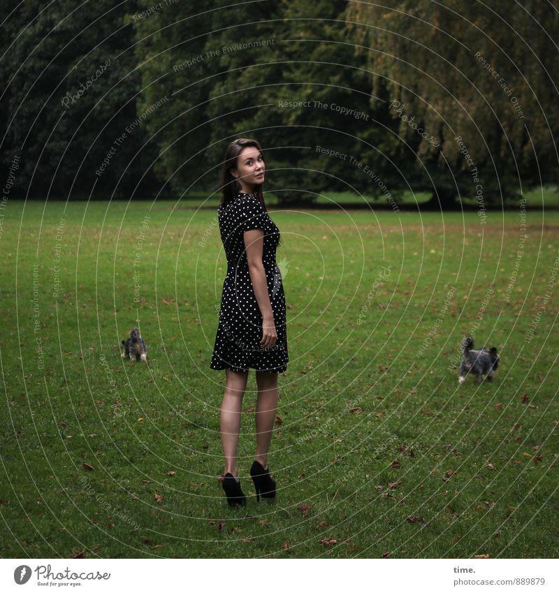 Yuliya feminin Junge Frau Jugendliche 1 Mensch 18-30 Jahre Erwachsene Baum Park Wiese Kleid brünett langhaarig Tier Haustier Hund 2 gehen laufen schön