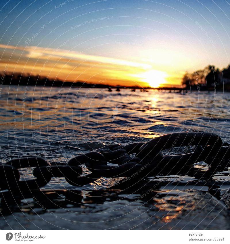 Verankert... Anker festhalten Sonnenuntergang Rheingau Eltville Wellen flach verankern Horizont Baum dunkel Schleier nass Elektrizität Romantik Wellenschlag